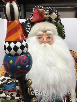 MACKENZIE CHILDS Jester Santa Claus Christmas Figurine 35 Tall