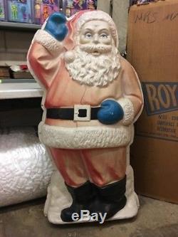 MASSIVE 4 Foot Tall Vintage Christmas Royal Santa Claus Lighted Wall Blow Mold