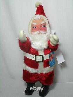 MY TOY SANTA CLAUS plush doll stuffed rubber face vintage like Rushton