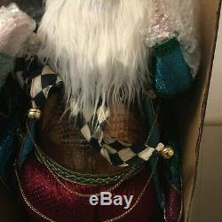 MacKenzie Childs Large Jeweled Santa Claus 33 Christmas Courtly Check
