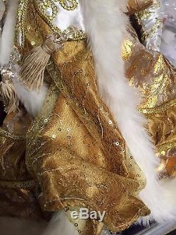Magnificent Katherine's Collection Cream & Gold Santa Claus Doll Figure 18 NEW