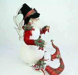 Mark Roberts Christmas Large Santa Claus Fairy Round Body Figure Top Hat Plaid