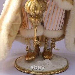 Mark Roberts Santa Claus Christmas Figure Snow Flake Ornaments Gold Glitter