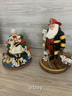 Mr. And Mrs. Claus Santa Firefighter Dalmatian Figures By Danbury Mint