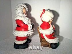 Mr and Mrs Santa Claus Atlantic Mold Ceramic Figures Large 14 Vintage Christmas