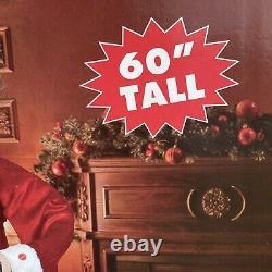 New LIFE SIZE 5 feet H SANTA CLAUS- sings, talks Christmas story & music, Lights