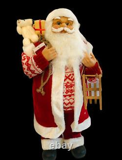 Northlight 24 Red and White Country Twist Standing Santa Claus Christmas Figure