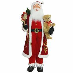 Northlight 5' Life-Size Standing Santa Christmas Figure Teddy Bear Gift Bag