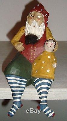 Old PAIGE P KOOSED Carved Wooden Santa Claus Elf on Shelf Figurine 10 Christmas