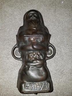 Original Antique Griswold Santa Claus cast iron mold Hello Kiddies
