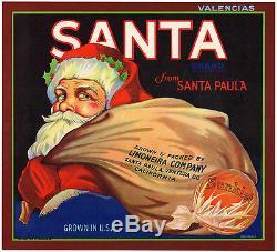 Original SANTA Claus St Nick Christmas Ventura RARE ORANGE Label NOT A COPY