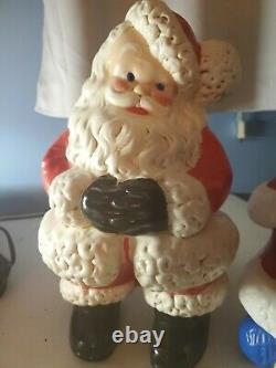 Pair Of Vintage Ceramic Atlantic Mold Santa Claus & Mrs Claus 13-14 1983