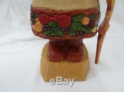 Paul Bolinger Santa Claus Bountifull Figure Walking Stick Basket Apples Harvest