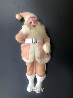 Pink Velvet Harold Gale Santa Claus Doll 15 Tall Vintage