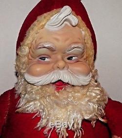 Pink Vintage Rushton Santa Claus Plush Doll 18