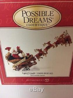 Possible Dreams Santa Claus Dash Away All Clothtique Christmas Figurine Reindeer
