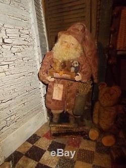 Primitive Santa Claus, Antique Coverlet, Antiqued Teddy Bears, Handmade