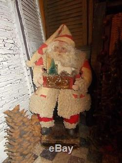 Primitive Santa Claus, Antique ornaments, Antique quilt, German sheep, Handmade
