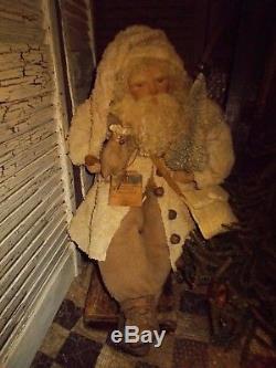 Primitive Santa Claus Doll, Antique bedspread, Vintage Christmas Decoration, OOAK