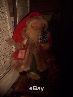 Primitive Santa Claus Doll, Antique fur coat, fur deer, Handmade OOAK
