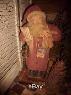 Primitive Santa Claus Doll, Antique ticking fabric, Handmade One of a Kind