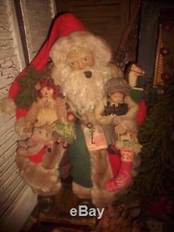 Primitive Santa Claus Doll, Raggedy Ann Doll, German sheep, Handmade ONE OF A KIND