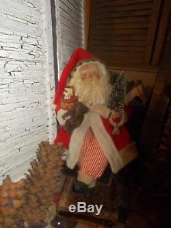 Primitive Santa Claus, christmas greenery tree, vintage sisal tree, HANDMADE