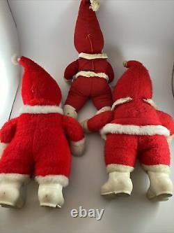 Qty-3 Vintage Rushton Santa Claus Rubber Face And Beard 18 Stuffed Plush Dolls