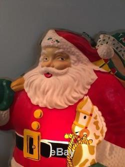 RARE 25.5 Vintage NOMA Glo-Lite SANTA CLAUS Blow Mold Christmas 1950's Wall