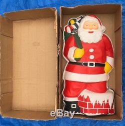 RARE 30 Vintage GloLite SANTA CLAUS Blow Mold Christmas 1950's Wall withBox 1950s