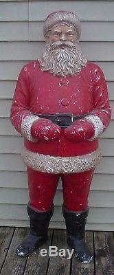 RARE RARE Vintage Large Santa Claus Styrofoam 60 Tall Christmas 2 Pieces
