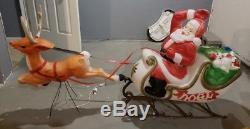 RARE VTG SANTA Claus in Sleigh + REINDEER Christmas Blow Mold 1970 EMPIRE