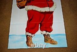 RARE Vintage 1950's LARGE Santa Claus Merry Christmas Litho Poster EXCELLENT