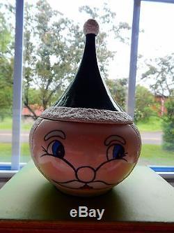 RARE Vintage Atomic Ceramic Santa Claus Candy Jar Atomic Holt Howard Christmas