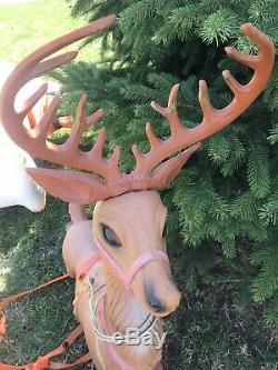 RARE! Vintage Poloron Christmas Santa Claus Sleigh & 2 Reindeer Blow Molds