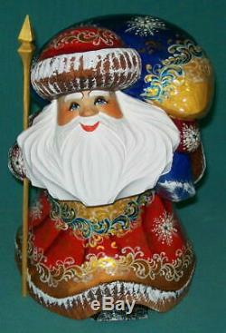 RUSSIAN GOLDEN STOOPED SANTA CLAUS with LARGE PACK #5394 HAND PAINTED STATUE
