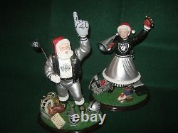 Raiders MR & MRS Claus(2000 & 2001) Danbury MINT Figures 6.5 LB's Total Weight
