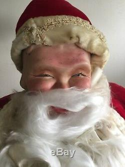 Rare 5 Foot Tall Vintage Animated Harold Gale Santa Claus With Gold Vest
