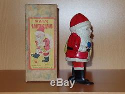 Rare Celluloid & Tin Occupied JAPAN Wind-up WALK SANTA CLAUS Toy withOriginal Box