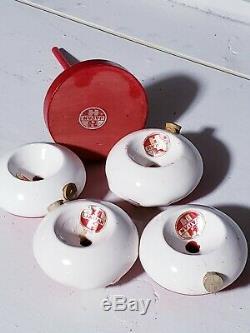 Rare MCM Holt Howard Stacking Santa Claus Salt & Pepper Shaker Set On Wood Stand