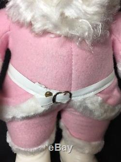 Rare PINK Vintage Rushton Santa Claus Plush Doll With Rubber Face The Rushton Co
