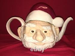 Rare Signed Steven Mcgovney Santa Claus Art Pottery Teapot Christmas Old Man Exc