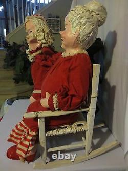 Rare Tall 31 Antique Santa & Mrs Claus Pot Belly Stove Paper Mache Figurines