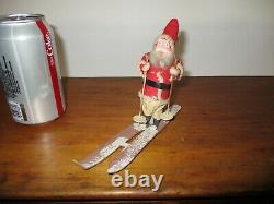 Rare Vintage Clay Face Santa Claus on Paper Skis & Mica Snow Germany