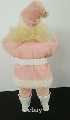 Rare Vintage Harold Gale Pink Velvet Rosey Santa Claus Doll 15.5 Tall