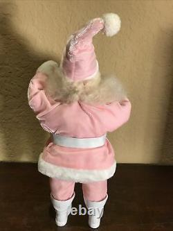 Rare Vintage Harold Gale Pink Velvet Santa Claus Doll 15.5 Tall Excellent Cond