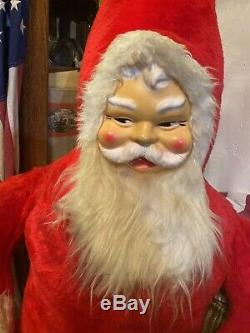 Rare! Vintage Large 52 Plush Sitting Stuffed Santa Claus Plastic Face 1950s