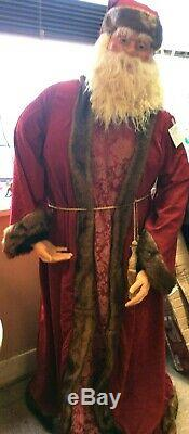 Rare Vintage Olde World Victorian 5 Foot 5 Santa Claus Collapses Down Life Size
