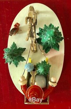 Rare Vintage Steinbach German Western Zone Large Santa Claus & Sleigh Figurine