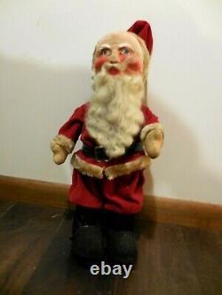 Rare Vtg 1950s SANTA CLAUS Doll Figure, Fabric Face & Body, Mohair Beard 24